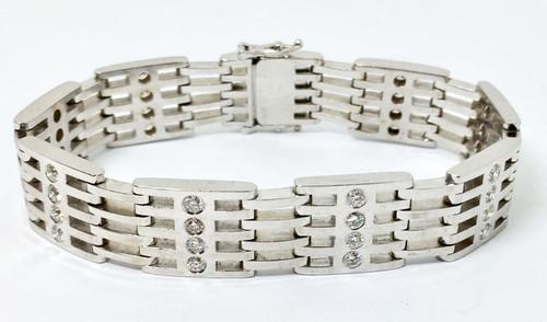 New Mens 14k White Gold Bracelet with 3 ct VS2-SI1 Diamonds & F-G Color