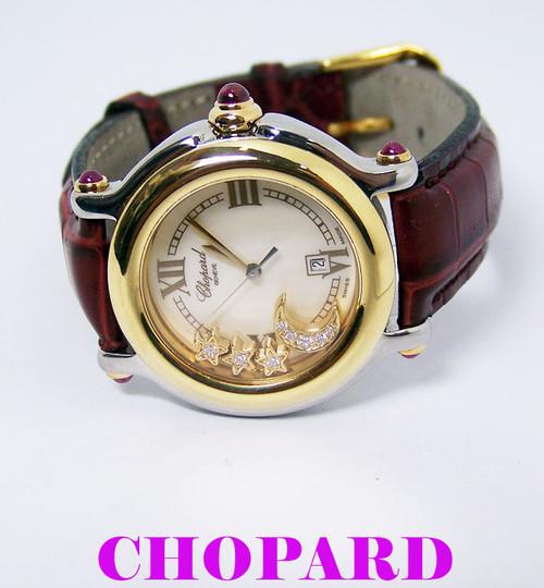 S/Steel-18k Ladies CHOPARD HAPPY SPORT Quartz Watch 8237 with Floating Diamonds