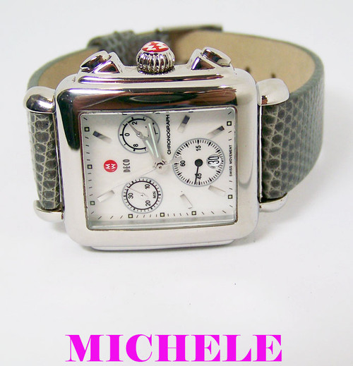 MICHELE DECO Chronograph Watch Mother of Pearl Dial MV06A01* Original Box