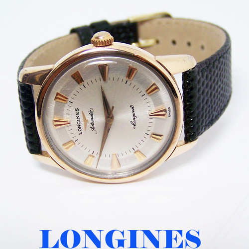 18k Rose & S/Steel LONGINES CONQUEST Mens AUTOMATIC Watch 1960s Cal 291 SERVICED
