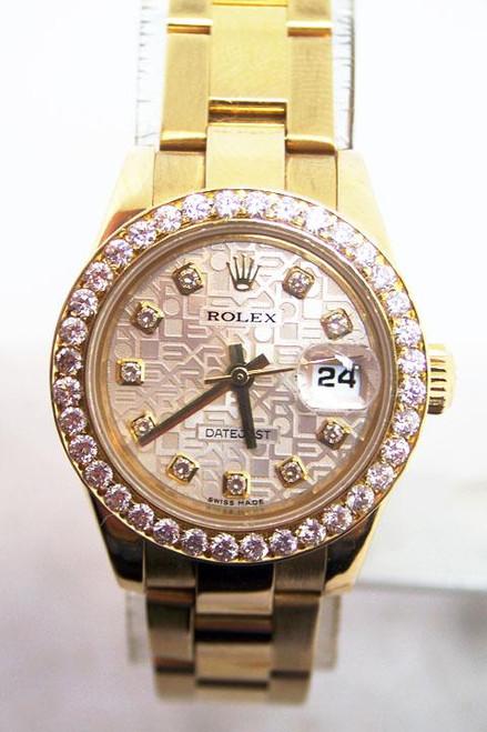18k ROLEX DATEJUST Automatic Watch w/Diamonds 179168 D Series MINT Condition