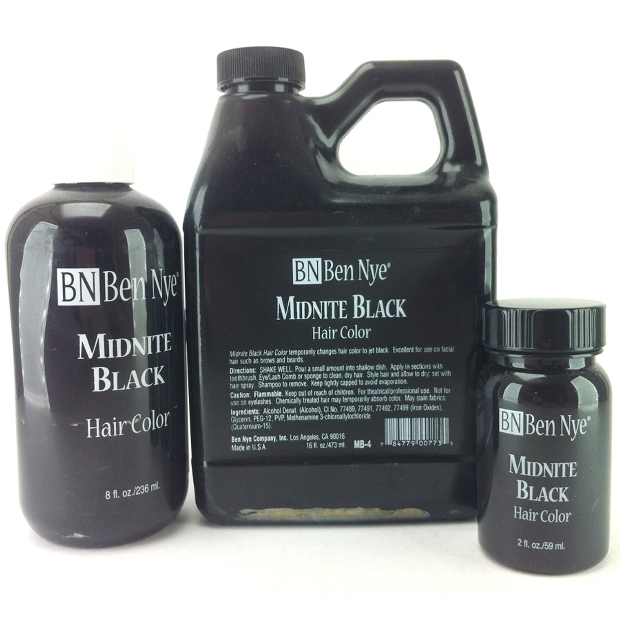 Ben Nye Midnite Black Hair Color Professional Quality Temporary