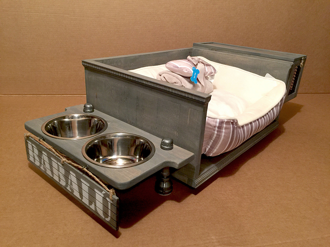 Raised All In One Dog Feeding Station, Bed Futon And Toy Storage Bin