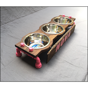 Rustic Raised Dog Feeding Station with Refined Black Pipe Legs -Small with 3 Bowls