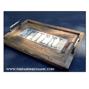 Artisan Rustic Family Serving Tray – Family Name Set in Stone