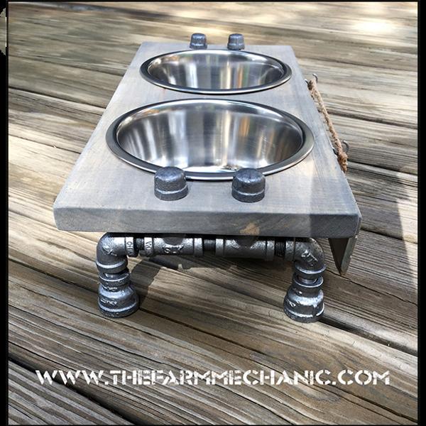 Rustic Raised Dog Feeding Station with Refined Black Pipe Legs -Medium