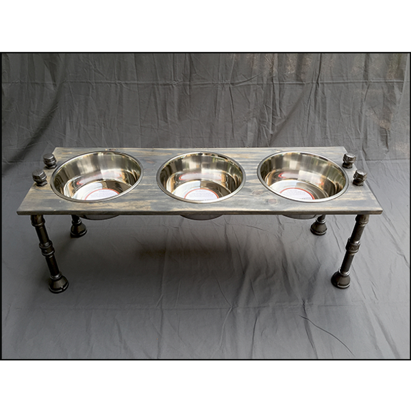 Rustic Raised Dog Feeding Station with Refined Black Pipe Legs - Large/Tall with 3 Bowls