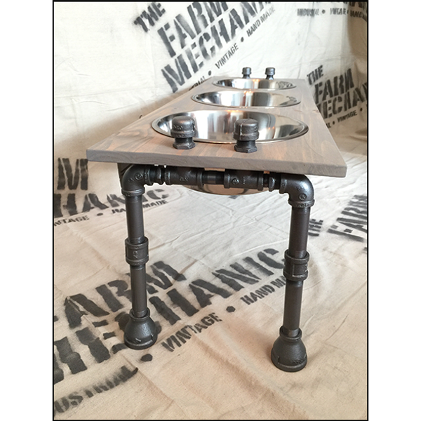 Rustic Raised Dog Feeding Station with Refined Black Pipe Legs - XXL/Tall with 3 Bowls