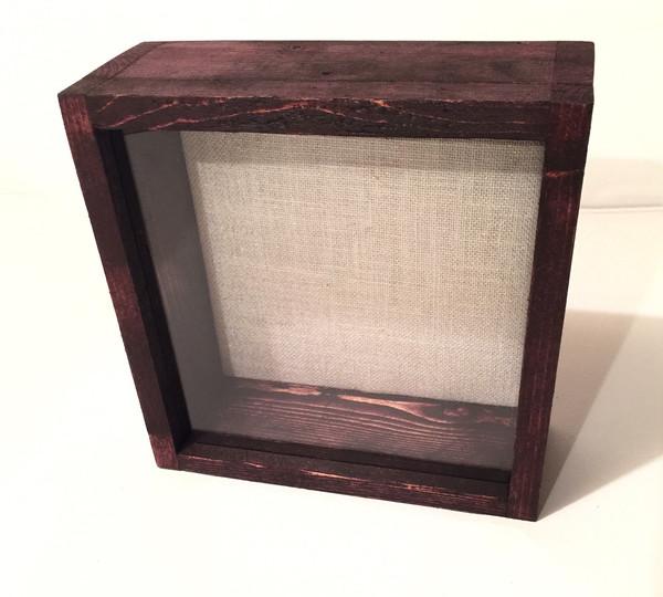 """Shadow Box - Artisan Rustic -11""""W x 14""""H x 3""""D Black Cherry"""