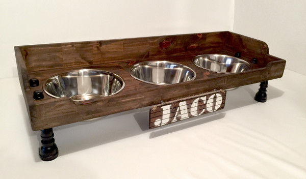 Rustic Raised Dog Feeding Station with Refined Black Pipe Legs - XL with 3 Bowls, 3-Sided Splash Guard and Small Front Lip