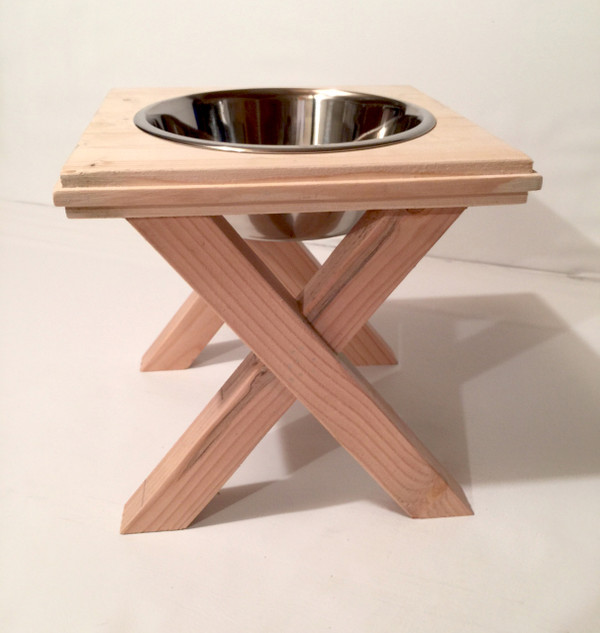 Rustic Raised Dog Bowl Stand - Large