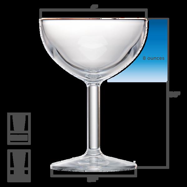 Drinique Unbreakable Coupe Glass 8 oz. Dimensions