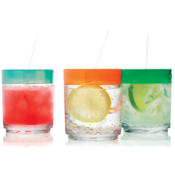 3 Drinique Classic Pint 16 Ounce with Colored Lids