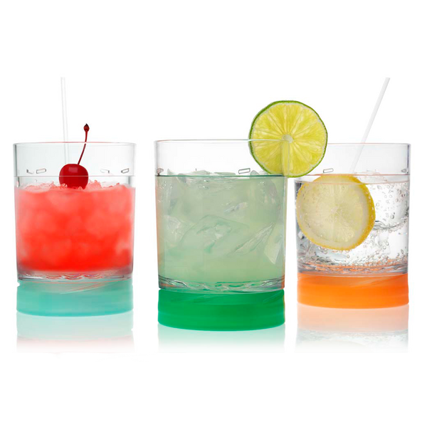 3 Drinique Classic Pint 16 Ounce with Colored Lids on Base