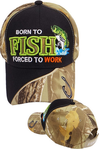 Born To Fish Forced To Work Fishing Cap - Black/Camo