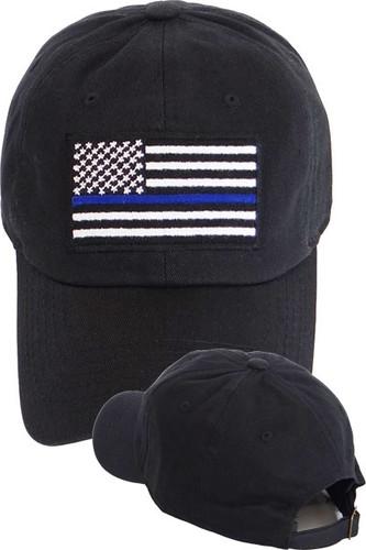 Police Thin Blue Line USA Flag Cap Cotton - Black