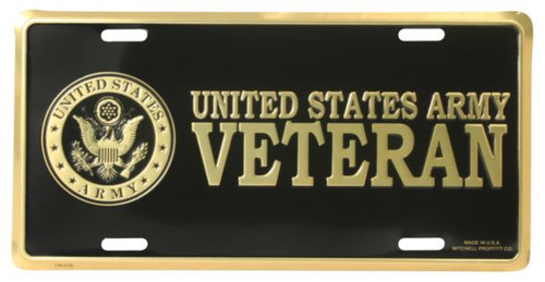 LA53 - U.S. Army Veteran License Plate - Made in USA - Black/Gold