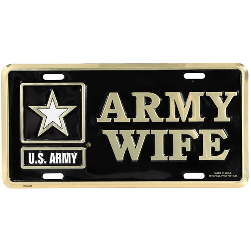 LA66 - U.S. Army Wife License Plate - Made in USA - Black/Gold