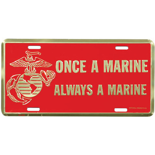 LM91 - Once A Marine Always A Marine License Plate - Made in USA