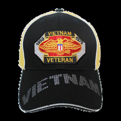34974 - Piped Embroidered Vietnam Veteran Cap Sandwich Bill - Black/Gold