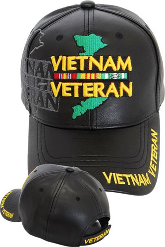 Vietnam Veteran Ribbons Shadow Cap with Map - Faux Leather - Black