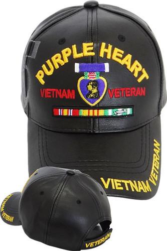 Vietnam Veteran Purple Heart Shadow Cap - Faux Leather - Black