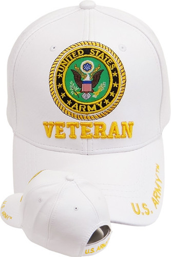 U.S. Army Seal Veteran Cap - Faux Leather - White