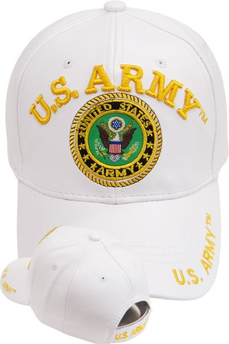U.S. Army Seal Cap - Faux Leather - White