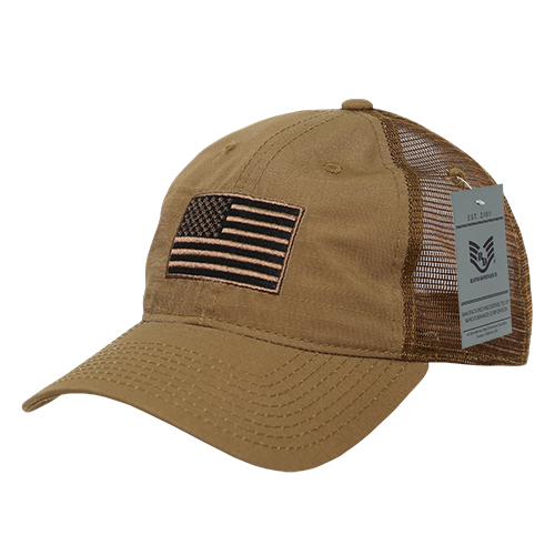 A13 - USA Flag Cap - Ripstop Cotton Trucker Mesh - Coyote