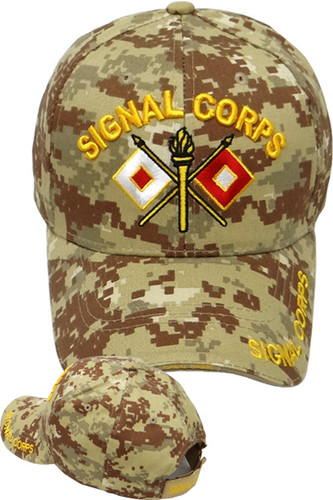 Army Signal Corps Crossed Flags Cap - Desert Digital Camouflage