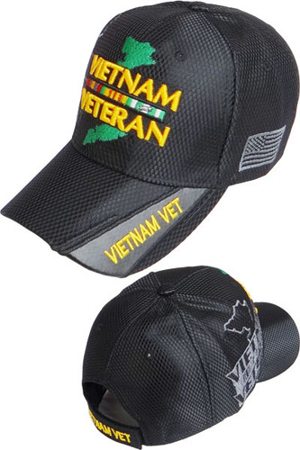 Vietnam Veteran Ribbons & Map Shadow Cap - Shiny Air Mesh - Black