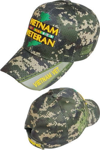 Vietnam Veteran Ribbons & Map Shadow Cap - Air Mesh - Digital Woodland Camo