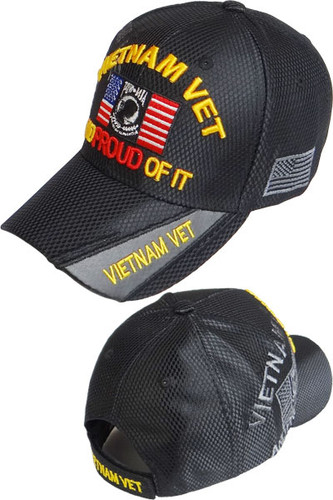 Vietnam Veteran POW-MIA Shadow Cap - Shiny Air Mesh - Black