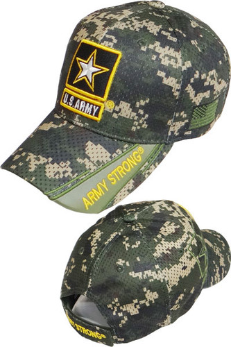 U.S. Army Strong Star Logo Cap - Air Mesh - Digital Woodland Camo