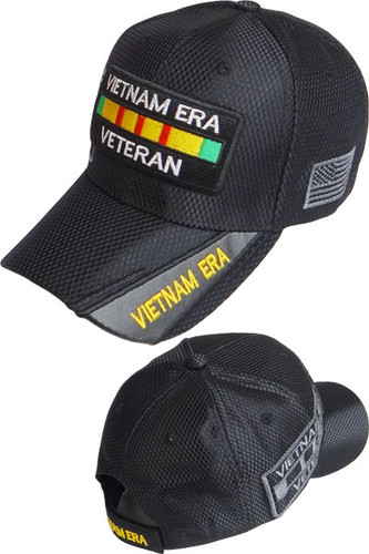 Vietnam Era Veteran Shadow Cap - Shiny Air Mesh - Black