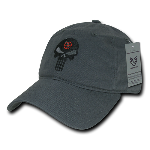 A03 - Punisher Skull Tactical Cap - Relaxed Cotton - Gray