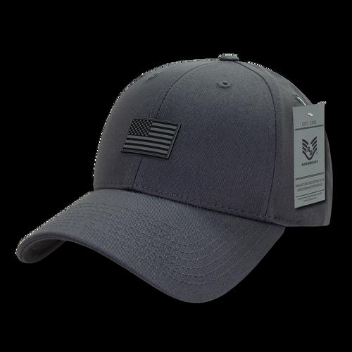 A07 - USA Cap - Rubber USA Flag - Cotton - Structured - Dark Grey