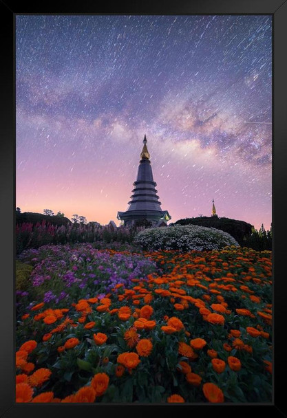 The Milky Way and Garden with Buddha Relics Photo Art Print Framed Poster 14x20 inch