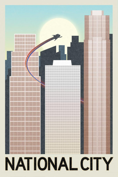 National City Fantasy Travel Mural Giant Poster 36x54 inch