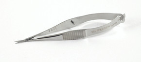 Vannas Curved Capsulotomy Scissors, Serrated Handle Sharp Tips (242-404-141) MSI Precision