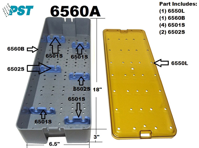 PST Sterilization Tray For Scopes 6.5'' x 18.0'' x 3.0'' (6560A)