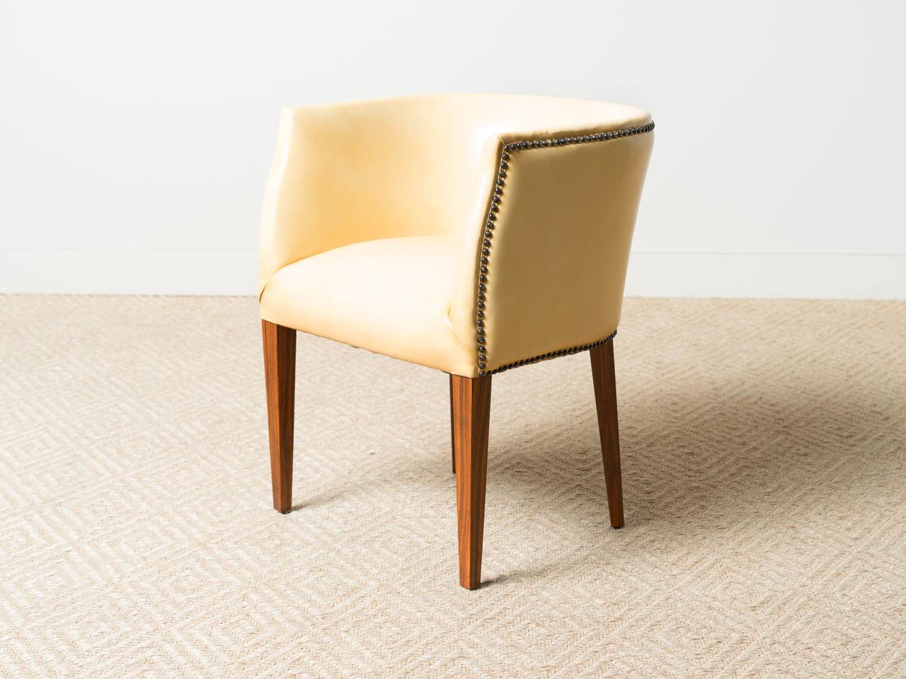 ivory leather barrel chair r e v i v a l