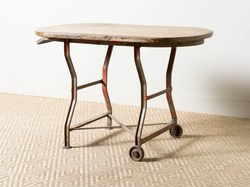 ANTIQUE WHEELED WORK TABLE
