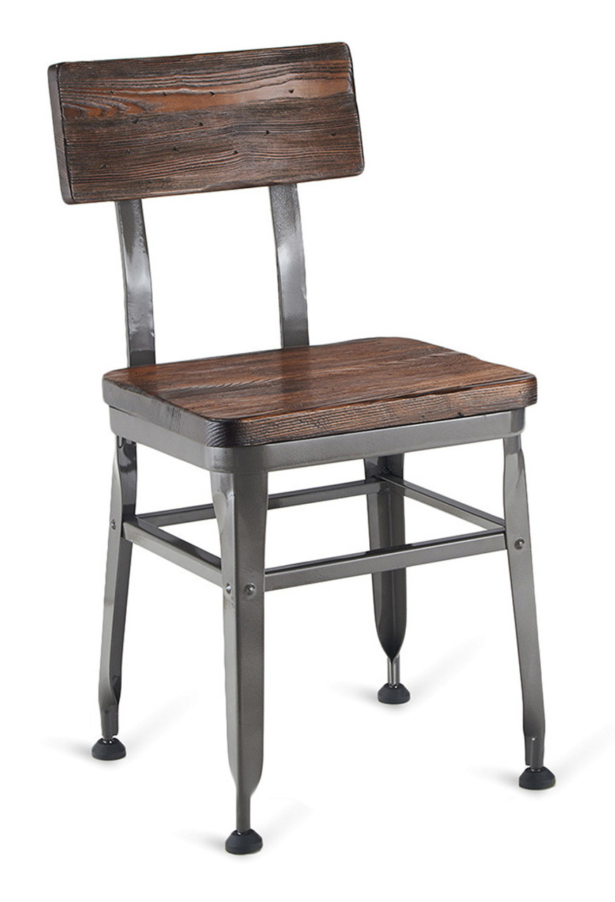 Walnut Finish Reclaimed Wood Restaurant Chair   Distressed Industrial Steel  Frame   Optional Upholstered Seat