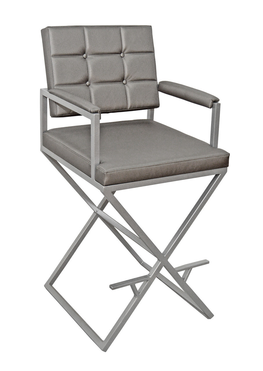 Handcrafted  U2022 Brushed Nickel Finish Metal Frame  U2022 Tall Directoru0027s Chair