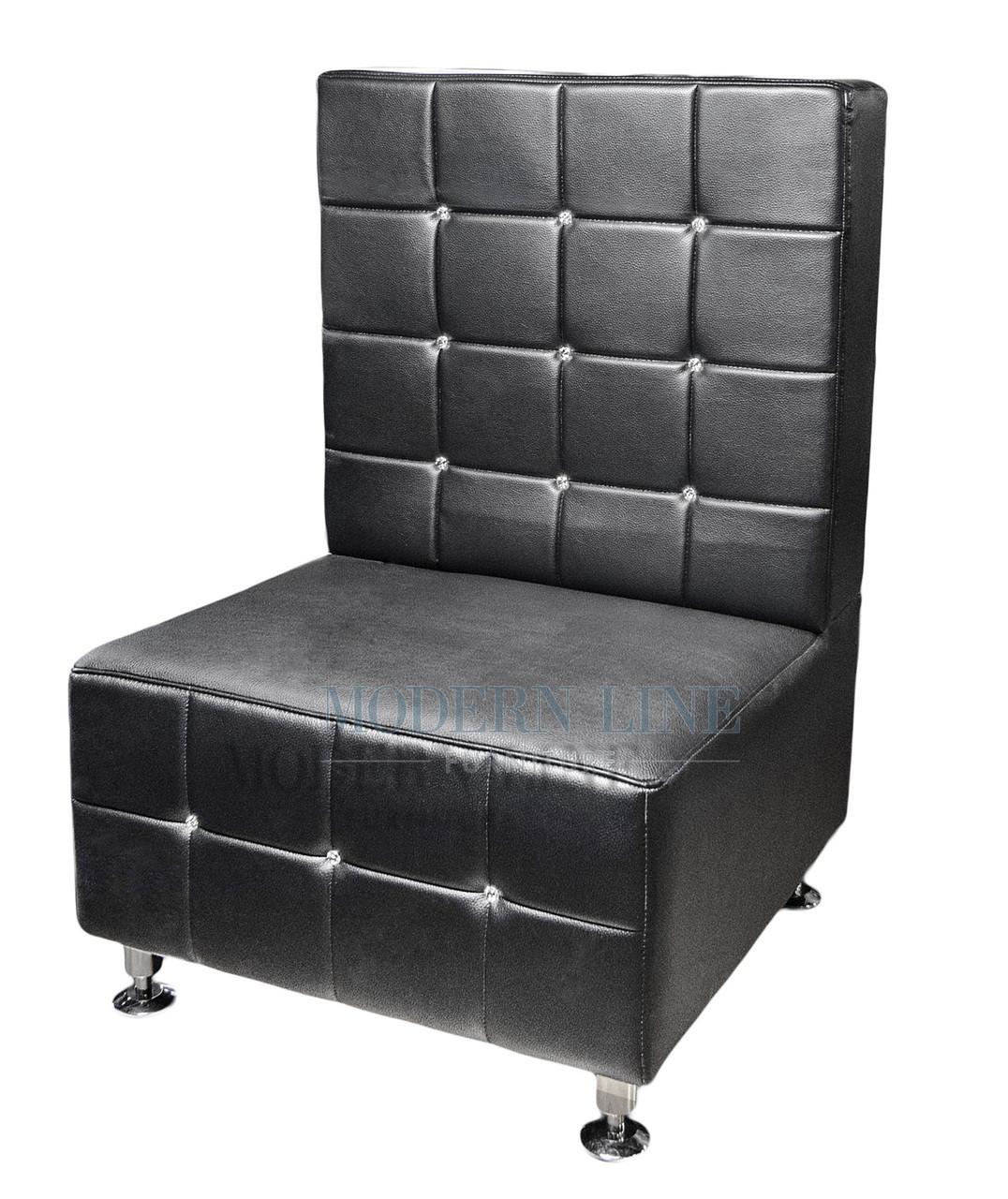 SWAROVSKI Crystal Tufted Modern Modular Black Leather Armless Chair (Made  In USA)