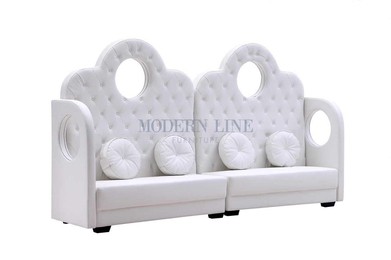 TIARA Long Banquette Sofa With Removable Round Pillows