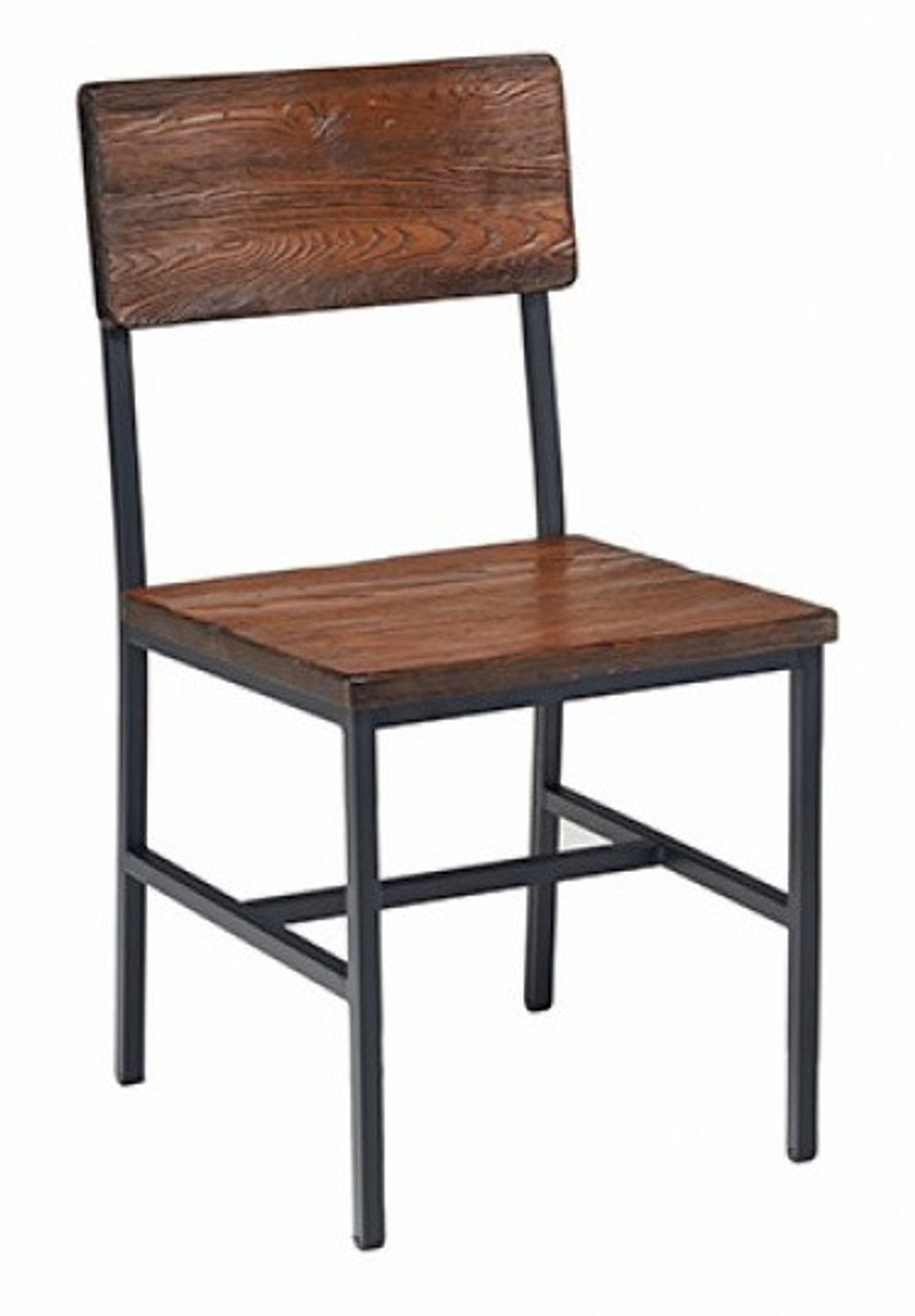 Reclaimed Wood Restaurant Chair   Industrial Steel Frame   Natural Finish    Optional Upholstered Seat