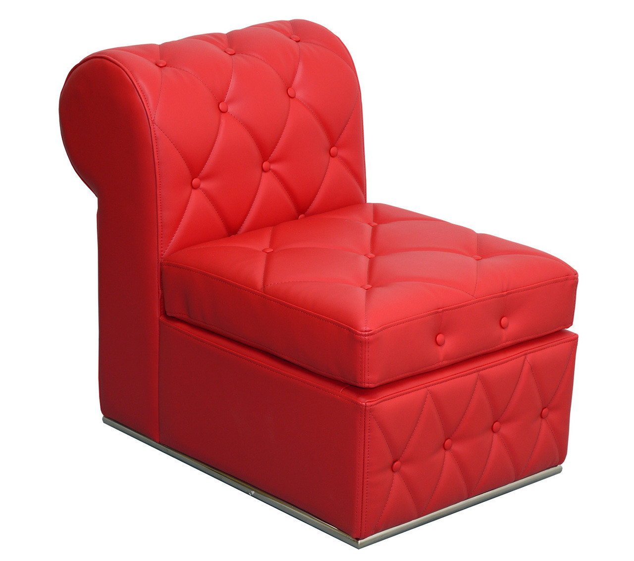 Red Button Tufted   Single Armless Chair