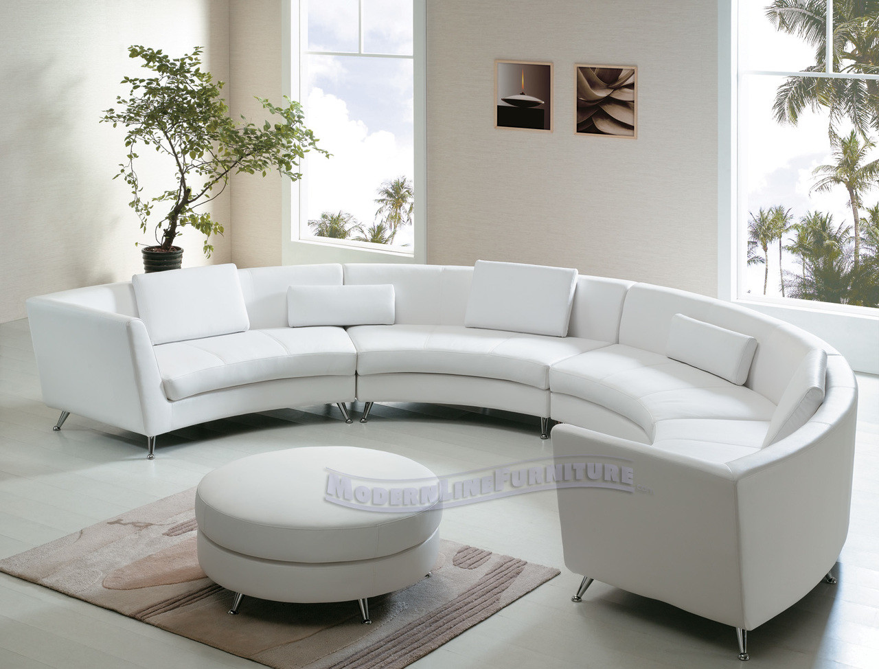 8004 Exclusive Extra Long Curved Sectional Sofa with an Ottoman ...